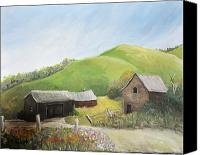 Country Scenes Painting Canvas Prints - A Little Country Scene Canvas Print by Reb Frost