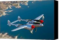 Warbird Photo Canvas Prints - A Lockheed P-38 Lightning Fighter Canvas Print by Scott Germain