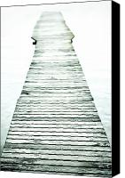 Infinity Canvas Prints - A long and old wooden bridge into the bright light Canvas Print by Joana Kruse