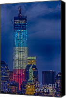 New York Skyline Canvas Prints - A Look At Freedom Canvas Print by Susan Candelario