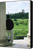 Frauenkirche Canvas Prints - A Man Stands Looking At Canvas Print by Taylor S. Kennedy