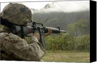 Target Field Canvas Prints - A Marine Conducts Drills With An M16-a2 Canvas Print by Stocktrek Images