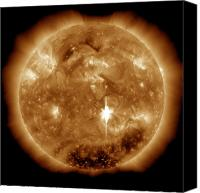Chromosphere Canvas Prints - A Massive X-class Solar Flare Erupts Canvas Print by Stocktrek Images