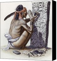 Maya Canvas Prints - A Maya Artisan Readies A Limestone Canvas Print by Terry W. Rutledge