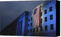 American Flags Canvas Prints - A Memorial Flag Is Illuminated On The Canvas Print by Stocktrek Images