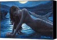 Moon Canvas Prints - A mermaid in the moonlight - love is mystery Canvas Print by Marco Busoni