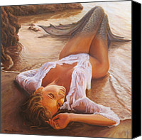Sea Painting Canvas Prints - A Mermaid In The Sunset - Love Is Seduction Canvas Print by Marco Busoni