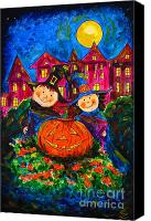 Scary Painting Canvas Prints - A Merry Halloween Canvas Print by Zaira Dzhaubaeva