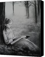 Charcoal Drawing Canvas Prints - A Mid Summers Tale Canvas Print by Carla Carson