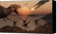 Judgment Day Canvas Prints - A Mighty T. Rex Roars From Overhead Canvas Print by Mark Stevenson