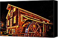 Grist Mill Canvas Prints - A Mill in Lights Canvas Print by DJ Florek