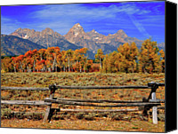 Grand Teton Canvas Prints - A Moment In Wyoming In Autumn Canvas Print by Jeff R Clow