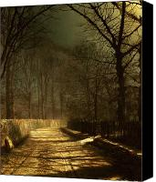 Road Painting Canvas Prints - A Moonlit Lane Canvas Print by John Atkinson Grimshaw