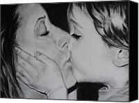 Charcoal Drawing Canvas Prints - A Mothers Love Canvas Print by Carla Carson