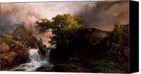White River Scene Canvas Prints - A Mountain Stream Canvas Print by Thomas Moran