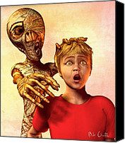 Scared Canvas Prints - A Mummies Touch Canvas Print by Bob Orsillo