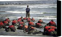 Navy Seals Canvas Prints - A Navy Seal Instructor Assists Students Canvas Print by Stocktrek Images