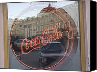 Etc. Canvas Prints - A Neon Coca Cola Sign Is Displayed Canvas Print by Richard Nowitz