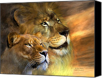 Lion Mixed Media Canvas Prints - A New Dawn Canvas Print by Carol Cavalaris