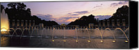 War Monuments And Shrines Canvas Prints - A Night View Of Memorial Plaza Canvas Print by Richard Nowitz