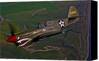 Warbird Photo Canvas Prints - A P-40e Warhawk In Flight Canvas Print by Scott Germain