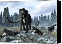 Ice Age Canvas Prints - A Pack Of Dire Wolves Crosses Paths Canvas Print by Walter Myers