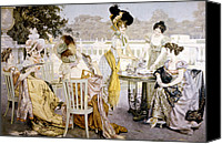 Tea Party Canvas Prints - A Painting Depicting Women Wearing Canvas Print by Everett
