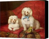 Dogs Canvas Prints - A Pair of Poodles Canvas Print by English School