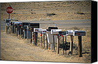 Santa Fe Canvas Prints - A Parade Of Mailboxes On The Outskirts Canvas Print by Stephen St. John