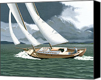 Wooden Boat Canvas Prints - A passing squall Canvas Print by Gary Giacomelli
