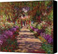 Blooms Painting Canvas Prints - A Pathway in Monets Garden Giverny Canvas Print by Claude Monet