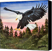 4th July Painting Canvas Prints - A Patriots Dawn Canvas Print by Jerry Padilla