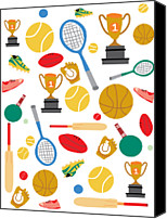 Award Digital Art Canvas Prints - A Pattern Of Sports Equipment And Trophies Canvas Print by Michelle Dybing