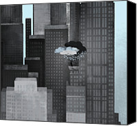 Storm Digital Art Canvas Prints - A Person On A Skyscraper Under A Storm Cloud Getting Rained On Canvas Print by Jutta Kuss