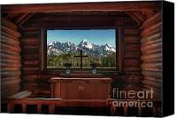 Log Cabin Photo Canvas Prints - A Pew With A View Canvas Print by Sandra Bronstein