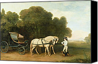 Horse Carriage Canvas Prints - A Phaeton with a Pair of Cream Ponies in the Charge of a Stable-Lad Canvas Print by George Stubbs