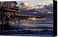 Etc. Canvas Prints - A Pier At Nags Head Is Pounded By Early Canvas Print by David Alan Harvey