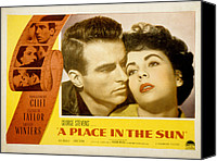 1950s Poster Art Canvas Prints - A Place In The Sun, Montgomery Clift Canvas Print by Everett