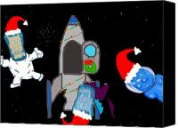 Rocketship Canvas Prints - A PuppyDragon Christmas in Space Canvas Print by Jera Sky