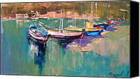 Yachts Painting Canvas Prints - A quiet cove Canvas Print by Anastasija Kraineva