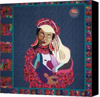Dogs Tapestries - Textiles Canvas Prints - A Quiet Moment Under a Crazy Moon Canvas Print by MtnWoman Silver