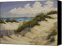 Sand Fences Canvas Prints - A Quiet Seaside Canvas Print by Wanda Dansereau