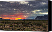 The Superstitions Canvas Prints - A Red Sunrise  Canvas Print by Saija  Lehtonen