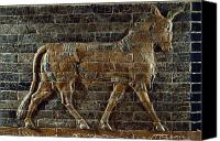 Iraq Canvas Prints - A Relief Depicts A Bull Canvas Print by Lynn Abercrombie