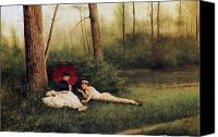 1923 (oil On Canvas) Canvas Prints - A Rest After Boating Canvas Print by Georges Croegaert