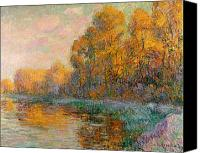 Turning Painting Canvas Prints - A River in Autumn Canvas Print by Gustave Loiseau