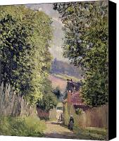 Louveciennes Painting Canvas Prints - A Road in Louveciennes Canvas Print by Alfred Sisley