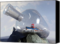 Science Fiction Canvas Prints - A Robot in a Bottle Canvas Print by Michael Knight