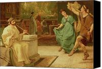 Alma-tadema; Sir Lawrence (1836-1912) Canvas Prints - A Roman Dance Canvas Print by Sir Lawrence Alma-Tadema