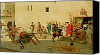 Spectators Canvas Prints - A Roman Street Scene with Musicians and a Performing Monkey Canvas Print by Modesto Faustini